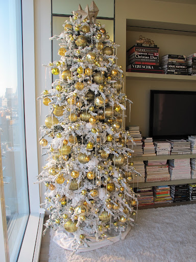 This Christmas I decided to go big, stacking two flocked trees together to create this impressive display.