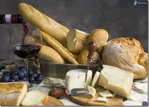 [imagenes.4ever.eu] pan, baguettes, queso, vino 164217