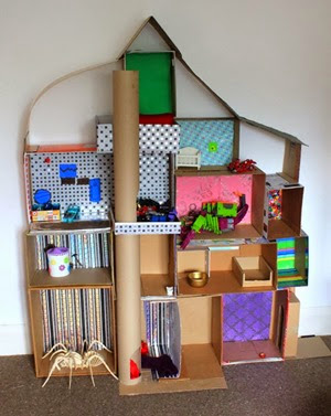 Cardboard dollhouse from Filth Wizardry