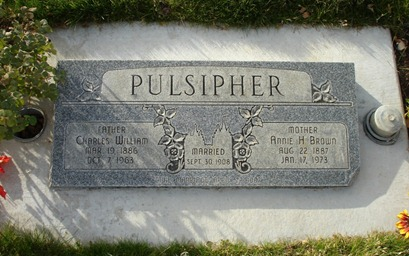 Charles William Pulsipher & Annie H. Brown's Headstone