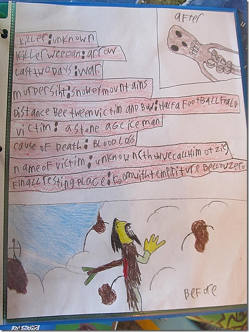 Peter's notebook page of Otzi the frozen man.