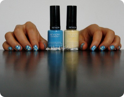 Polka Dot Nails -Revlon Colorstay Nail Polish - Coastal Surf and Buttercup (7)