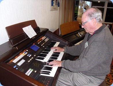 Past President, George Watt, played the arrival music for us on the Club's Techncis GA3
