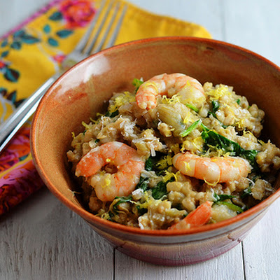 Slow Cooker Shrimp and Artichoke Barley Risotto