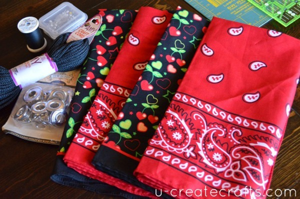 Drawstring Bandanna Backpack Tutorial Supplies