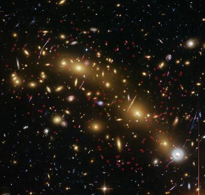 lente gravitacional no aglomerado de galáxias MCS J0416.1-2403
