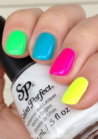 Salon Perfect Loopy Lime, Bermuda Baby, Fired Up Fuchsia, Yowza Yellow over Sugar Cube