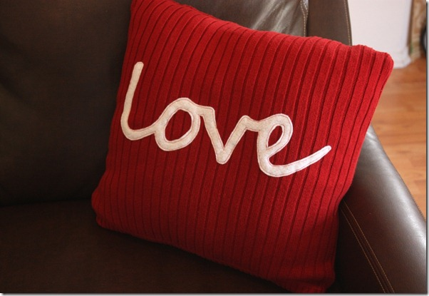 love sweater pillow valentine