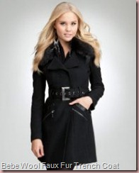 Wool Faux Fur Collar Trench Coat Bebe