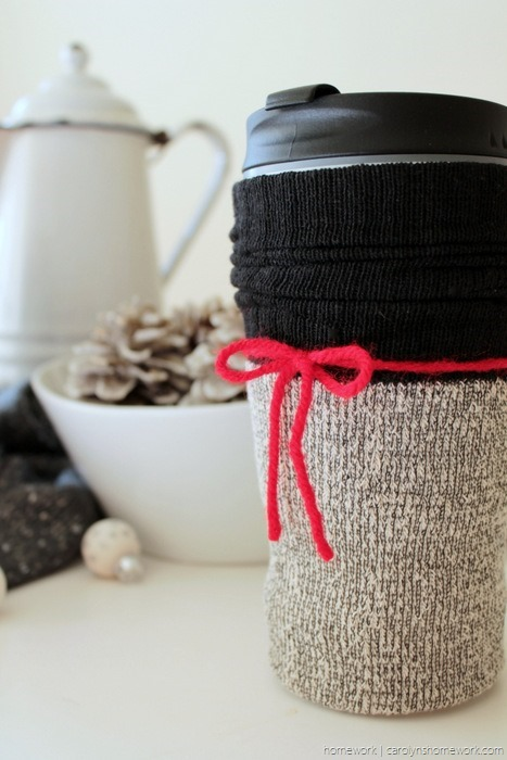 Dollar Store Coffee Cup Sock Cozy - carolynshomework (4)