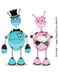86479-Royalty-Free-RF-Clipart-Illustration-Of-A-Blue-And-Pink-Robot-Wedding-Couple