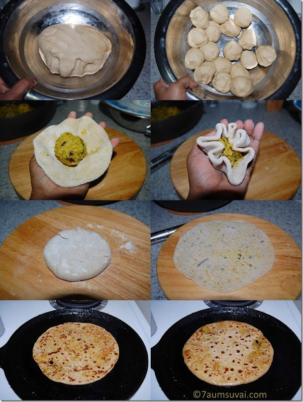 Cauliflower paratha process