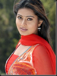 Sneha in red dress