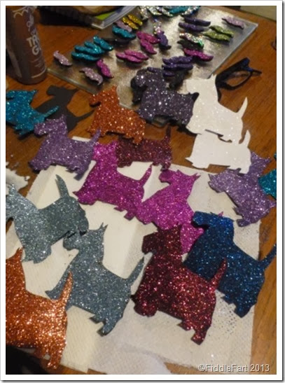 Glittered die cut scottie dogs