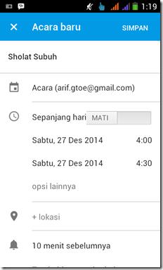 menambahkan agenda di google calendar