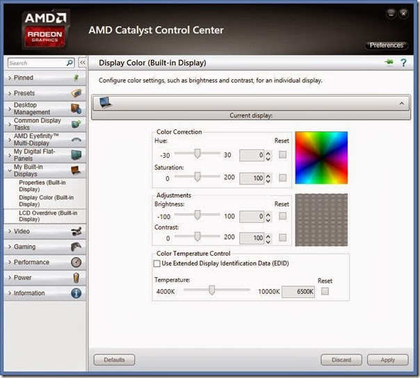 AMD Catalyst Control Center Adjust Screen Brightness