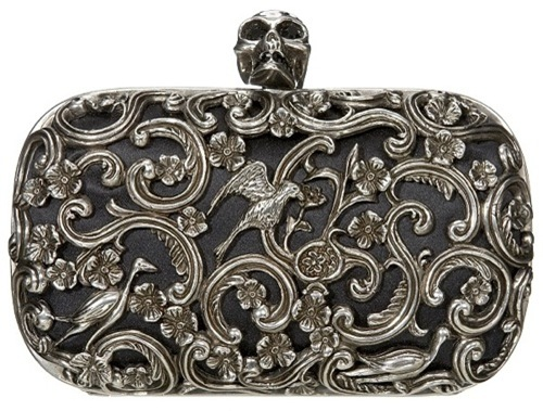 Alexander McQueen's ornate skull clutch black