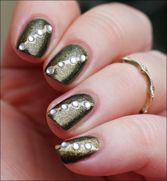 Autumn Nail Art Herbst Nageldesign Gold Bling 01