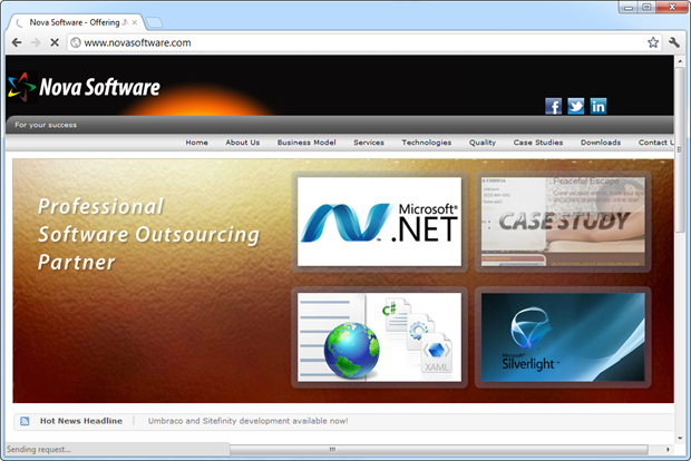 The Nova Software website