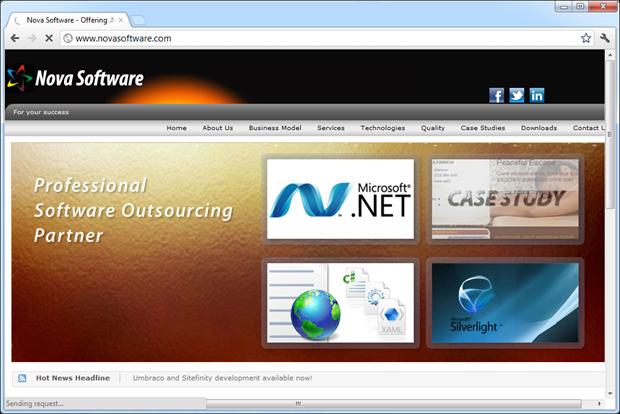 The Nova Software website