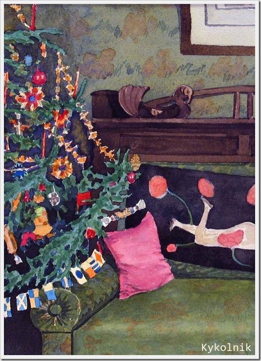 Васильев Николай Сергеевич (Россия, 1899-1986) «Празднование Нового года в Москве« 1940-е