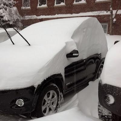 雪に埋まりかけている車