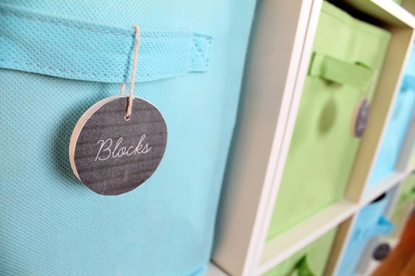 Faux Chalkboard Tags for Toy Bins 12