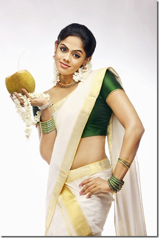 karthika in kerala saree
