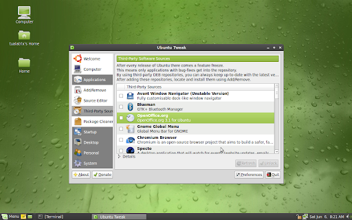 Ubuntu Tweak 0.4.7.2 under Linux Mint 7