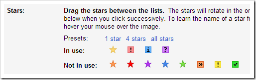 Gmail multiple stars setting