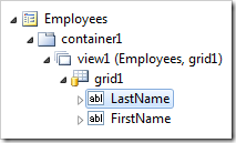LastName data field on grid1 of Employees page.