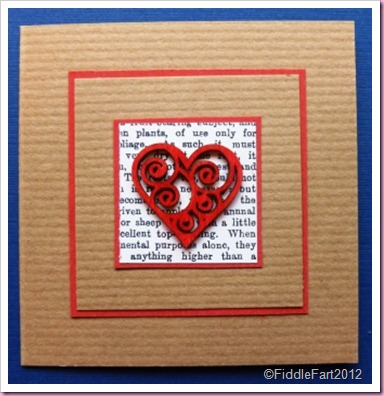 Wooden Heart on Kraft Card