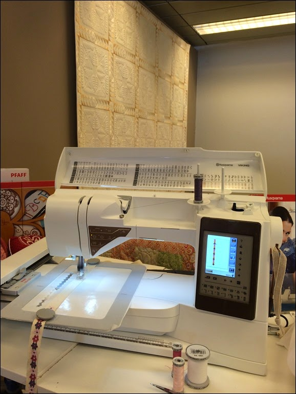 """""""Endless decorations"""". Embroidery on Designer Topaz 50, an original design from the machine."""