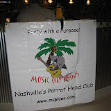MCPHINS banner at Barefoot Charlies entrance.