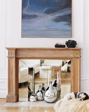 mirrored fireplace makeover