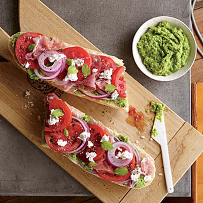Tomato and Prosciutto Sandwiches with Pea Pesto