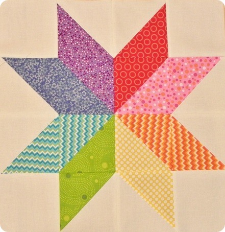 Rainbow Star Flower Block QCA 2