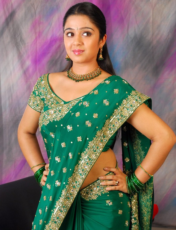 charmi green saree photos
