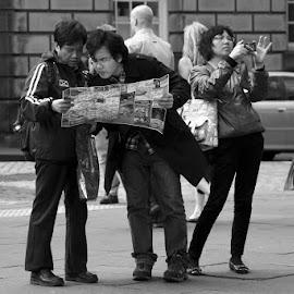 Tourists by John Hawthorne - People Street & Candids ( tourist, edinburgh, camera, photographer, map )