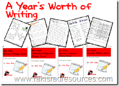 A Year's Worth of  Writing - 4 writing journals in one pack by Raki's Rad Resources