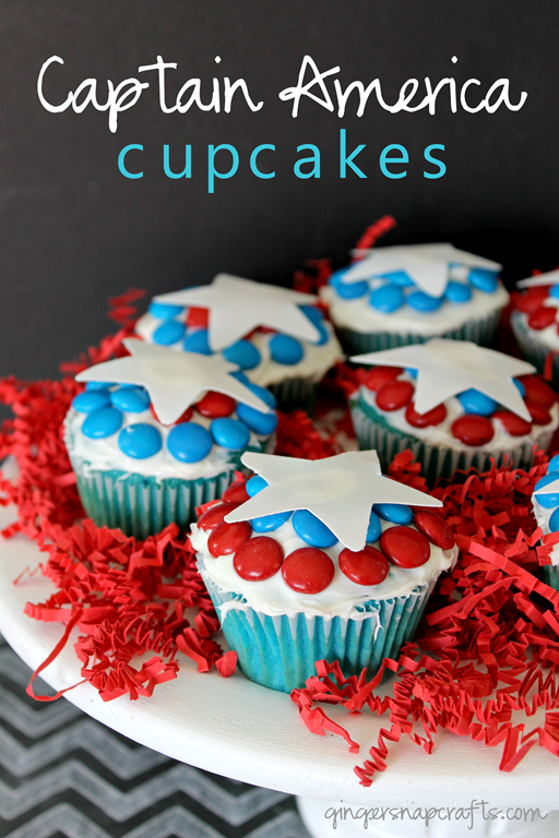 Captain America Cupcakes at GingerSnapCrafts.com #shop