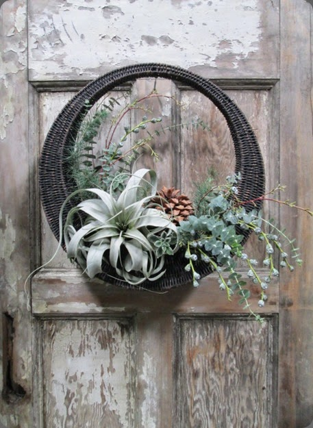 door hanging dandelion ranch wreath-brown-door