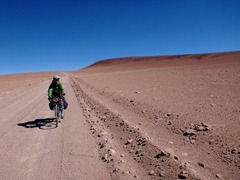 Riding through what could be a Martian landscape at 4900m in Southwestern Bolivia.