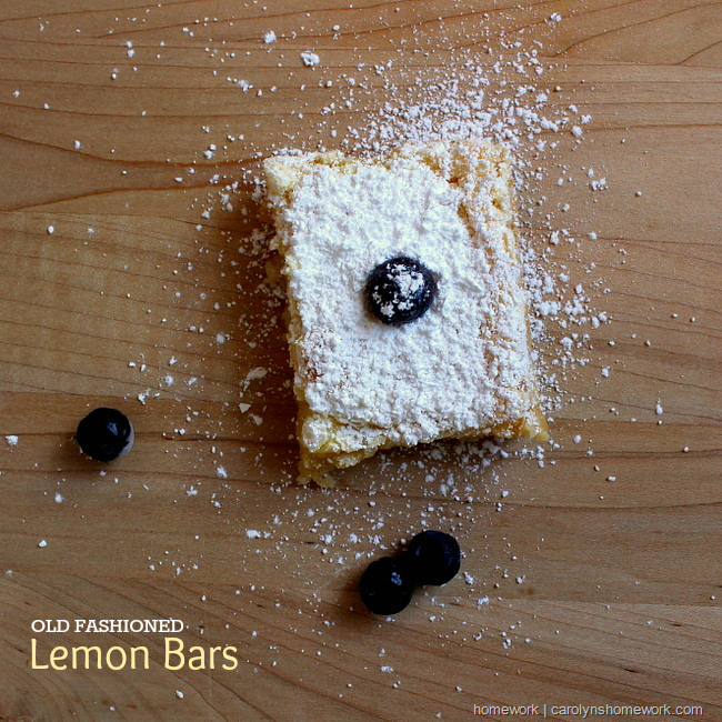 Old Fashioned Lemon Squares via homework | carolynshomework.com