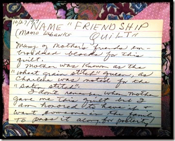 Mother's writing about friendship quilt
