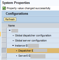 SAP NWA System Properties despatcher