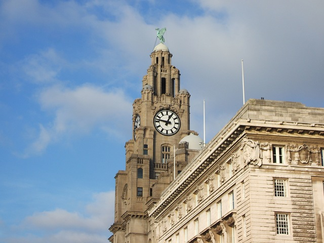 The Royal Liver Building as seen over the Cunard Building