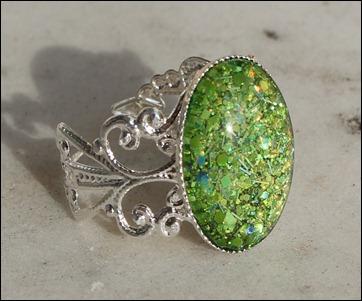 Green Glitter Ring silber schnörkel