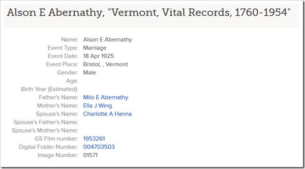 """Alson E Abernathy in """"Vermont, Vital Records, 1760-1954"""""""
