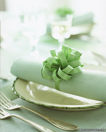 These satin bow napkin rings are sweet and easy to make. Learn how to make them here: http://www.marthastewart.com/how-to/satin-bow-napkin-rings